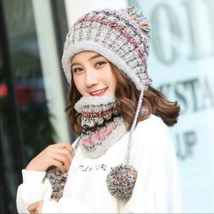 Color knit hat for women